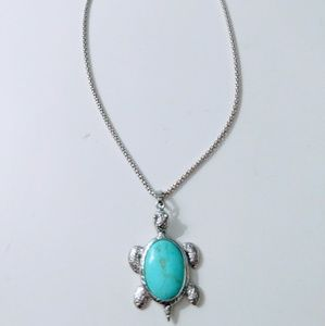 Sea turtle turquoise necklace 925 silver